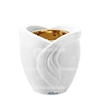 Base for grave lamp Gres 10cm - 4in In Pure white marble, with recessed golden ferrule