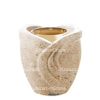 Base for grave lamp Gres 10cm - 4in In Botticino marble, with golden steel ferrule