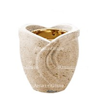 Base for grave lamp Gres 10cm - 4in In Calizia marble, with recessed golden ferrule