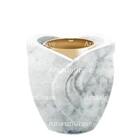 Base for grave lamp Gres 10cm - 4in In Carrara marble, with golden steel ferrule