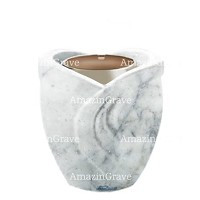 Base for grave lamp Gres 10cm - 4in In Carrara marble, with steel ferrule