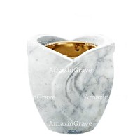 Base for grave lamp Gres 10cm - 4in In Carrara marble, with recessed golden ferrule