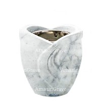 Base for grave lamp Gres 10cm - 4in In Carrara marble, with recessed nickel plated ferrule