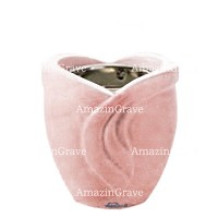 Base for grave lamp Gres 10cm - 4in In Pink Portugal marble, with recessed nickel plated ferrule