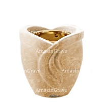 Base for grave lamp Gres 10cm - 4in In Travertino marble, with recessed golden ferrule