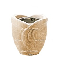 Base for grave lamp Gres 10cm - 4in In Travertino marble, with recessed nickel plated ferrule