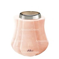Base for grave lamp Leggiadra 10cm - 4in In Rosa Bellissimo marble, with steel ferrule