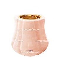 Base for grave lamp Leggiadra 10cm - 4in In Rosa Bellissimo marble, with recessed golden ferrule