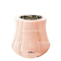 Base for grave lamp Leggiadra 10cm - 4in In Rosa Bellissimo marble, with recessed nickel plated ferrule