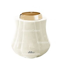 Base for grave lamp Leggiadra 10cm - 4in In Pure white marble, with golden steel ferrule