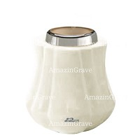 Base for grave lamp Leggiadra 10cm - 4in In Pure white marble, with steel ferrule