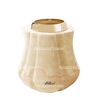 Base for grave lamp Leggiadra 10cm - 4in In Botticino marble, with golden steel ferrule