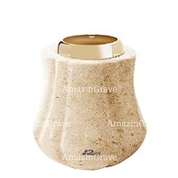 Base for grave lamp Leggiadra 10cm - 4in In Calizia marble, with golden steel ferrule