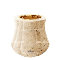 Base for grave lamp Leggiadra 10cm - 4in In Calizia marble, with recessed golden ferrule