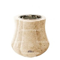 Base for grave lamp Leggiadra 10cm - 4in In Calizia marble, with recessed nickel plated ferrule