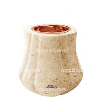 Base for grave lamp Leggiadra 10cm - 4in In Calizia marble, with recessed copper ferrule