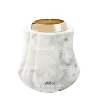 Base for grave lamp Leggiadra 10cm - 4in In Carrara marble, with golden steel ferrule