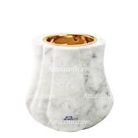 Base for grave lamp Leggiadra 10cm - 4in In Carrara marble, with recessed golden ferrule