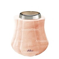 Base for grave lamp Leggiadra 10cm - 4in In Pink Portugal marble, with steel ferrule