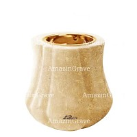 Base for grave lamp Leggiadra 10cm - 4in In Trani marble, with recessed golden ferrule