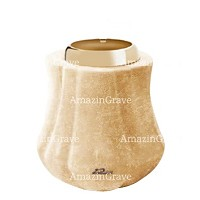 Base for grave lamp Leggiadra 10cm - 4in In Travertino marble, with golden steel ferrule