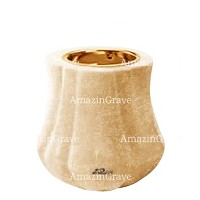 Base for grave lamp Leggiadra 10cm - 4in In Travertino marble, with recessed golden ferrule