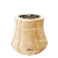 Base for grave lamp Leggiadra 10cm - 4in In Travertino marble, with recessed nickel plated ferrule