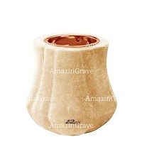 Base for grave lamp Leggiadra 10cm - 4in In Travertino marble, with recessed copper ferrule