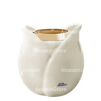 Base for grave lamp Tulipano 10cm - 4in In Pure white marble, with golden steel ferrule