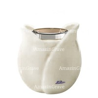 Base for grave lamp Tulipano 10cm - 4in In Pure white marble, with steel ferrule