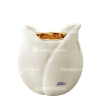Base for grave lamp Tulipano 10cm - 4in In Pure white marble, with recessed golden ferrule