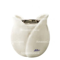 Base for grave lamp Tulipano 10cm - 4in In Pure white marble, with recessed nickel plated ferrule