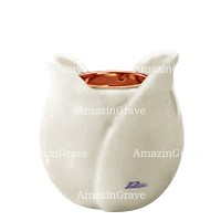Base for grave lamp Tulipano 10cm - 4in In Pure white marble, with recessed copper ferrule