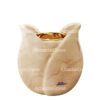 Base for grave lamp Tulipano 10cm - 4in In Botticino marble, with recessed golden ferrule