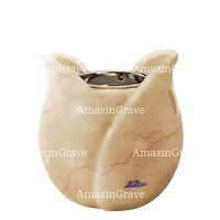 Base for grave lamp Tulipano 10cm - 4in In Botticino marble, with recessed nickel plated ferrule