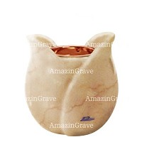 Base for grave lamp Tulipano 10cm - 4in In Botticino marble, with recessed copper ferrule
