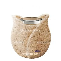 Base for grave lamp Tulipano 10cm - 4in In Calizia marble, with steel ferrule