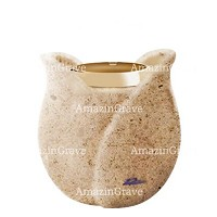 Base for grave lamp Tulipano 10cm - 4in In Calizia marble, with golden steel ferrule