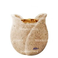 Base for grave lamp Tulipano 10cm - 4in In Calizia marble, with recessed golden ferrule