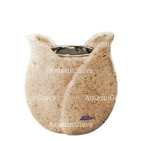 Base for grave lamp Tulipano 10cm - 4in In Calizia marble, with recessed nickel plated ferrule