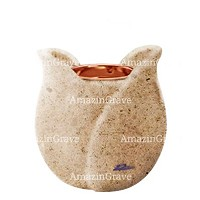 Base for grave lamp Tulipano 10cm - 4in In Calizia marble, with recessed copper ferrule