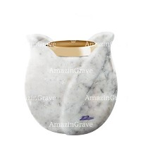 Base for grave lamp Tulipano 10cm - 4in In Carrara marble, with golden steel ferrule