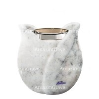 Base for grave lamp Tulipano 10cm - 4in In Carrara marble, with steel ferrule