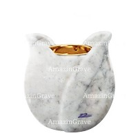 Base for grave lamp Tulipano 10cm - 4in In Carrara marble, with recessed golden ferrule