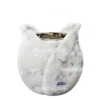 Base for grave lamp Tulipano 10cm - 4in In Carrara marble, with recessed nickel plated ferrule