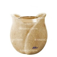 Base for grave lamp Tulipano 10cm - 4in In Trani marble, with golden steel ferrule