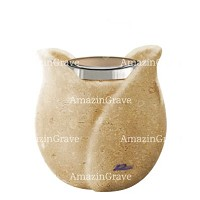 Base for grave lamp Tulipano 10cm - 4in In Trani marble, with steel ferrule