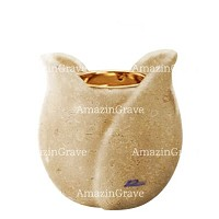 Base for grave lamp Tulipano 10cm - 4in In Trani marble, with recessed golden ferrule