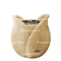 Base for grave lamp Tulipano 10cm - 4in In Trani marble, with recessed nickel plated ferrule