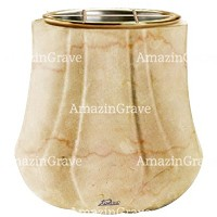 Flowers pot Leggiadra 19cm - 7,5in In Botticino marble, golden steel inner